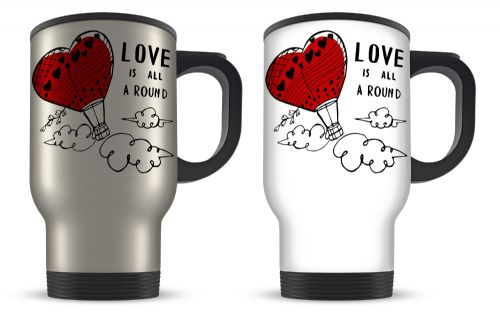 Love Is All Around Cute Novelty Aluminium Travel Mug